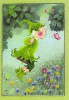 Kaarina Toivanen Baby Fairy, Funny Drawings, Fantasy Illustration, Kids Christmas, Garden Art, Finland, Cute Pictures, Fairy Tales, Dinosaur Stuffed Animal