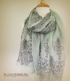 Mint green summer scarf in lightweight cotton with by RockRibbons, $30.00