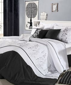 This Black Poppy Flower Embroidered Comforter Set by Chic Home Design is perfect! #zulilyfinds