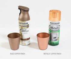 Comparison of two different copper spray paint finishes for diy home decor projects