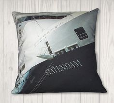 """Nautical Navy Great Lakes Embroidered Pillow Cover Fits 18/"""" x 18/"""" Insert"""