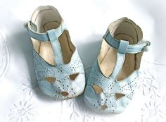 Vintage Blue Leather Buttoned Baby Shoes, Preforated Design