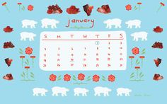Monthly Calendar Wallpaper by Alysha Dawn. Calendar Wallpaper, Happy Monday, Happy New Year, Dawn, Illustrator, My Favorite Things, Happy New Year Wishes, Illustrators