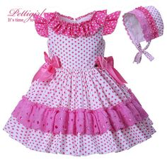 Pettigirl New Arrival Pink Flower Girl Dressing Polka Dot Boutique Princess Dress Girls Clothing Toddler WearBaby Toddler Girls Polka Dot Dress With Bonnet Spanish Party Wedding PageantPicture 1 of 10 Pink Flower Girl Dresses, Kids Outfits Girls, Little Dresses, Little Girl Dresses, Girl Outfits, Baby Girl Dress Patterns, Baby Dress, Dot Dress, Kids Gown