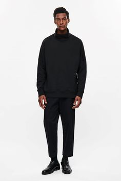This high-neck sweatshirt is made from cotton jersey with a soft fleece inside. A straight fit, it has exaggerated dropped shoulders, graduated hemline and double-layered finishes. Cos Stores, Latest Clothes For Men, Mens Sweatshirts, Normcore, Street Style, Fashion Outfits, Couture, Cotton, Shopping