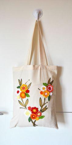 Fall flowers Tote bag Market Tote by Lemiecreazionidarte on Etsy