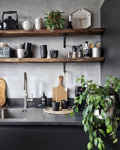 Home Decor Living Room Incredible Open Kitchen Shelves.Home Decor Living Room Incredible Open Kitchen Shelves Wooden Shelves Kitchen, Kitchen Shelf Design, Timber Shelves, New Kitchen Cabinets, Home Decor Kitchen, Rustic Kitchen, Kitchen Interior, Home Kitchens, Rustic Wooden Shelves