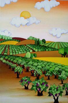 Campos de Viñedos 40x60 cms Óleo sobre lienzo