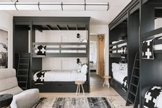 We rounded up ten modern kids rooms that feature cool bunk beds we wish we could call our own. We rounded up ten modern kids rooms that feature cool bunk beds we wish we could call our own. Modern Bunk Beds, Cool Bunk Beds, Kids Bunk Beds, Black Bunk Beds, Contemporary Bunk Beds, Bunk Bed Rooms, Bunk Beds Small Room, Queen Bunk Beds, Small Rooms