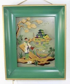 3f28eba4ecb Vintage Mid Century Oriental Lighted Wall Picture Reverse Paintings on Glass