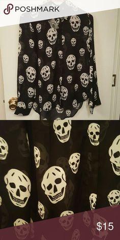💕NWOT Black skull blouse💕 Black skull see through blouse. Never worn Tops Blouses