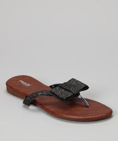 Take a look at this Black Bow Flip-Flop - Women by Capelli New York on #zulily today!