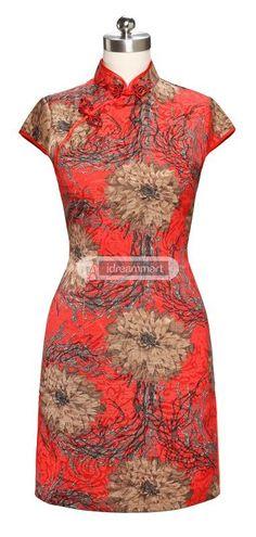 #idreammart New Women's Red Linen Peony Printed Short Sleeve Cocktail #Cheongsam - iDreamMart.com