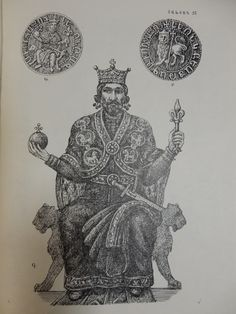 Golden seal of Levon I, first king of Cilician Armenia (1199-1219). The larger image is a reconstruction based on figure A  From the book 'Armenian Costume' by Arakel Patrik, 1967.