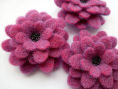Plum Felt Flower Brooch, large felt corsage, purple. £12.00, via Etsy.