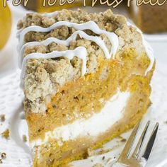 This is the fall recipe you've been waiting for - Pumpkin Coffee Cake! A big slice of spiced pumpkin cake with cream cheese filling and cinnamon crumbles! Chocolate Cheesecake, Chocolate Desserts, Nutella Chocolate, Pumpkin Cheesecake, Blueberry Cheesecake, Cheesecake Recipes, Pumpkin Recipes, Fall Recipes, Delicious Recipes