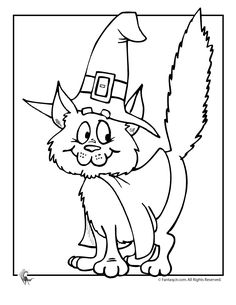 Cute Halloween Coloring Pages Halloween Witch Cat Coloring Page – Fantasy Jr.
