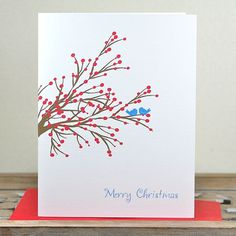 Christmas Cards Holiday Cards  Winter Berry Blue Birds by DeanPenn, $18.00