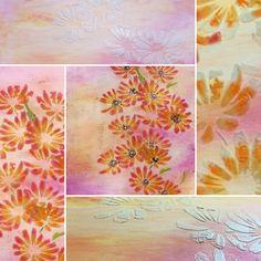 PanPastel Flowers, Stencil und mehr ..., Ein Bild mit verschiedenen Materialien und PanPastel kombiniert. PanPastel ist eine ultraweiche Pastelkreide.