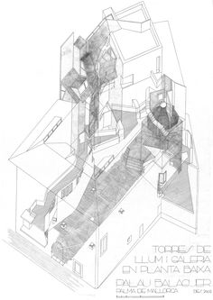 casal balaguer cultural center by flores & prats + duch-pizá Axonometric View, Axonometric Drawing, Architecture Graphics, Architecture Drawings, Architecture Diagrams, Architecture Portfolio, Landscape Architecture, Oblique Drawing, New Staircase