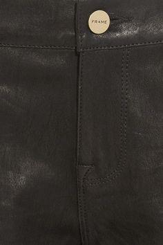 FRAME - Le Garcon Cropped Stretch-leather Slim Boyfriend Pants - Black - 28