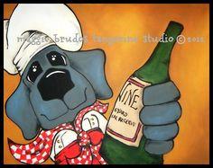 wine  WEIMARANER gray BLUE dog Whimsical ART by tangerinestudio, $48.00
