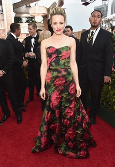 2016 Golden Globes Red Carpet - Rachel McAdams in a strapless Lanvin floral jacquard gown featuring a lovely red and green rose print, and Forevermark jewelry