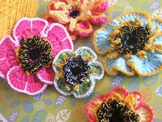 Susan's Hippie Crochet: My Crocheted Tropical Flowers with Jazzy Details!