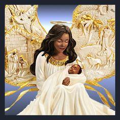 Thomas Kinkade Illuminated African American Nativity Angel Sculpture: Away In A Manger