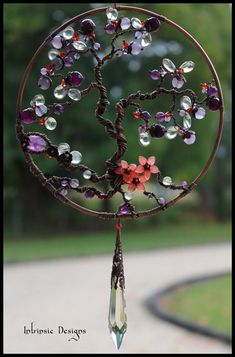 Gemstone and wire Tree of Life Suncatcher by Jersica
