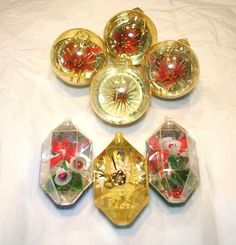 Jewel Brite #Christmas Diorama Ornaments #VintagePlastic Flower Balls Vintage #Kitsch Lot #Jewelbrite