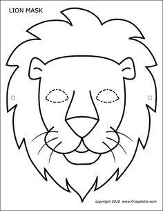pdf masque lion noir et blanc Animal Mask Templates, Printable Animal Masks, Animal Masks For Kids, Mask For Kids, Animal Face Mask, Animal Faces, Face Masks, L Is For Lion, Lion Coloring Pages
