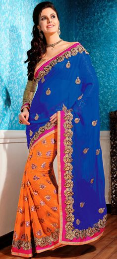 Contemporary Blue and Orange Chiffon with Viscose Georgette Party Wear Saree - IG9049 USD $ 106.09