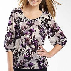a.n.a® Knit Peasant Top – Plus - jcpenney