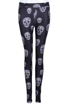 Black Skinny Skulls Print Leggings I WILL have leggings yes yes i will