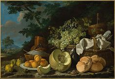 This still life by Meléndez is exceptional in its format and composition. The setting in a luscious landscape is also unusual for him; his compositions are usually set against stark backgrounds. The painting is similar to a series of four which were painted for the Nuevo Cabinete de Historia Natural of the Prince of Asturias (now in the Museo del Prado, Madrid). It is likely that the Museum's still life originally had a pendant canvas of the same size, with a landscape.