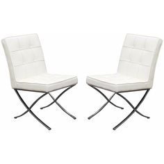Set of (2) Cordoba Tufted Dining Chair w/ Stainless Steel Frame by Diamond Sofa - White