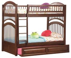 Windsor Bunk Bed Twin Over Twin a Raised Trundle in Antique Walnut