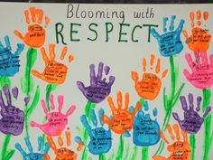 Blooming with respect bulletin board- add with Blooms lesson by having children write advice by different levels of blooms
