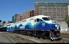 (MP40PH-3C)  Sound Transit #922.   Diesel-electric passenger train locomotives designed for commuter rail service.