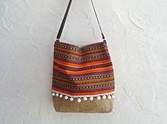 SALE Ready to Ship Bucket Bag. Boho Fabric Bag. Hobo Bag Bohemian Style. Crossbody Bag. Womens Gift. Orange Woven Ethnic Bag. Bohemian Bag