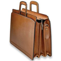 Natural Tan Belting Leather Triple Gusset Briefcase