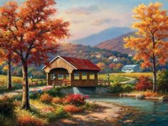 'Covered Bridge in Fall' by Sung Kim