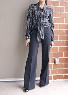 tie neck blouse & wide leg trousers