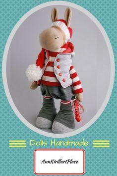 Donkey doll Rag doll Tilda doll Interior doll Art doll red doll Soft doll Cloth doll Fabric doll Nursery doll Baby gift doll