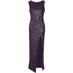 True Decadence Sequin Split Maxi Dress, Plum ($105) ❤ liked on Polyvore featuring dresses, gowns, floor length evening gowns, purple maxi dress, sequin gown, evening gowns and evening maxi dresses