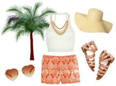 Cute vacation outfit.  Great printed shorts and the twist on a classic white tank.