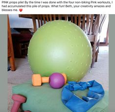"""""""PINK props pile! By the time I was done with the four non-biking Pink workouts, I had accumulated this pile of props. What fun! Beth, your creativity amazes and blesses me."""" -Desirae, Fit2B Member"""
