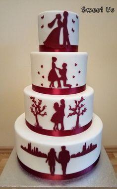 Wedding cake by Gabriela Doroghy - cakesdecor.c / # cake <-> Purple Wedding Cakes, Diy Wedding Bouquet, Unique Wedding Cakes, Beautiful Wedding Cakes, Wedding Cake Designs, Wedding Cake Toppers, Beautiful Cakes, Amazing Cakes, Cake Wedding