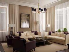 Interior Ruang Tamu dengan Warna Krem
